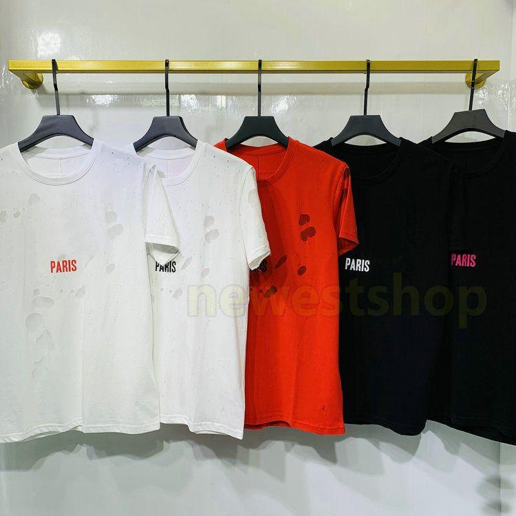 2020 neue Luxus-Europa Paris Gebrochene Holes T-Shirt Zwei Lagen-Gewebe-T-Shirt Männer Frauen großen Buchstaben drucken T-Shirt Designer-shirts Cotton Tee