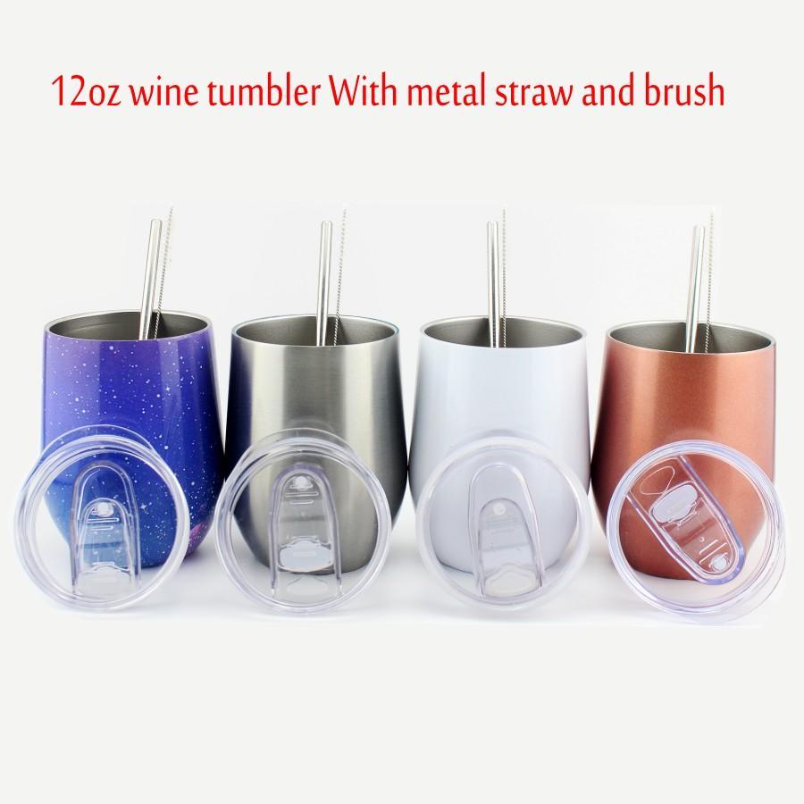 Copa de agua de acero inoxidable de 12oz Taza de vino sin tono con tapa y cerveza aislada de vacío de paja de metal WWQ WWQ