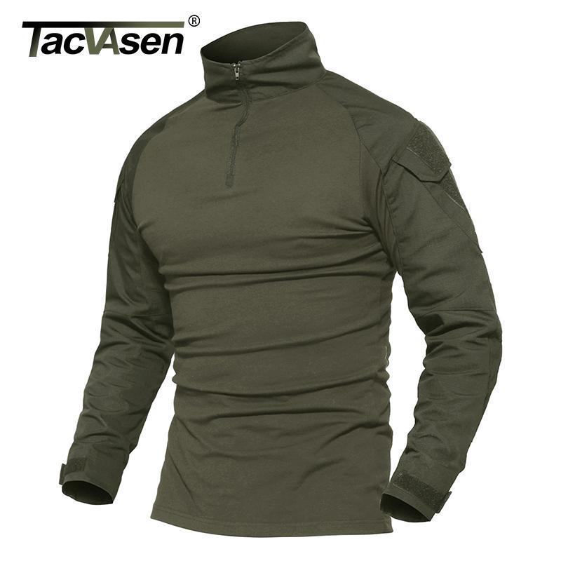 TACVASEN hommes camouflage tactique T-shirts Armée verte combat T-shirt à manches longues hommes T-shirt Hunt T-shirts hommes outwear