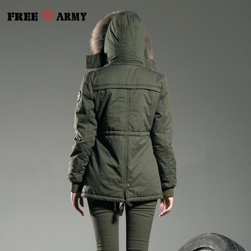 Casacos de Womens Casacos Jacket Freearmy Marca Inverno e Coats Verde Magro gola de pele Medium de algodão acolchoado para baixo Parkas Mulheres