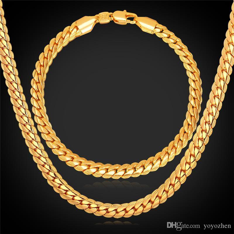 """18 """"-32"""" الرجال الذهب سلسلة 18 كيلو الذهب الحقيقي مطلي سلسلة القمح قلادة سوار الهيب هوب مجموعة مجوهرات"""