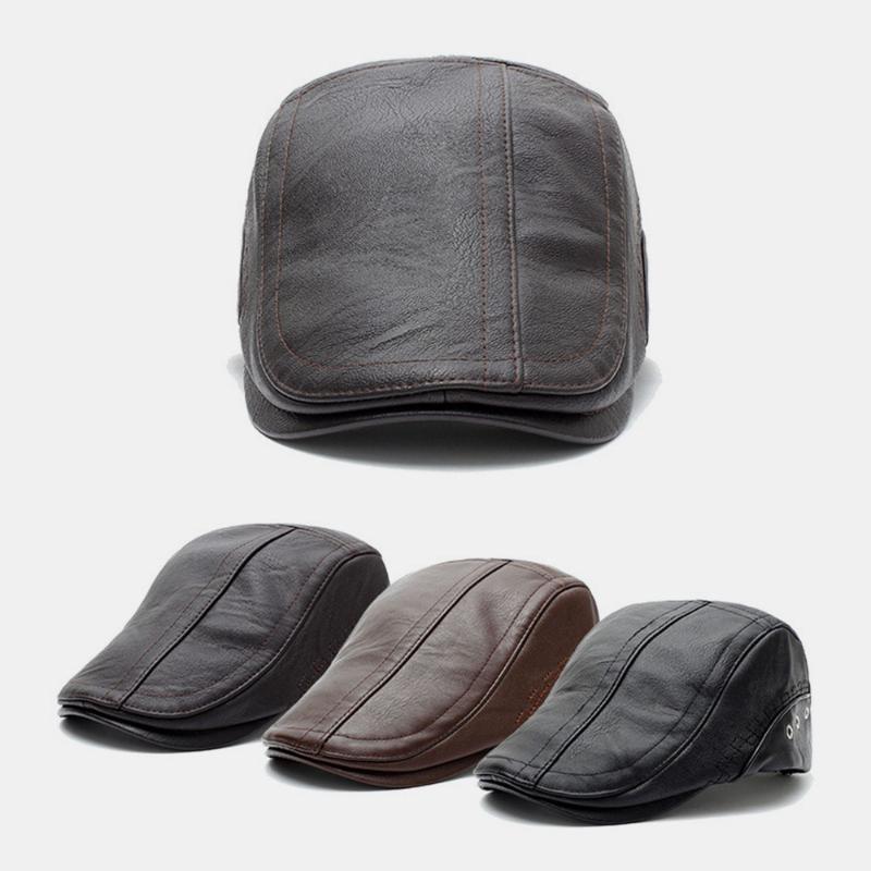 Winter Barett-Mützen für Männer PU-Leder-massivem Barett-Hut britischer Retro-Stil-Männer verdicken flach Top-Kappe Künstler Maler Hut Cap1