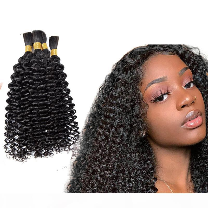 Humano trenzado cabello a granel sin trama 4b 4c Afro Kinky Curly Bulk Hair para trenzar 100g Mongolian Indian Hair Ganchet trenzas