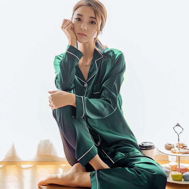 2 قطعة الحرير فو الحرير منامة مجموعة الخريف النساء ملابس كم طويل ثوب النوم لأنثى السيدات منامة
