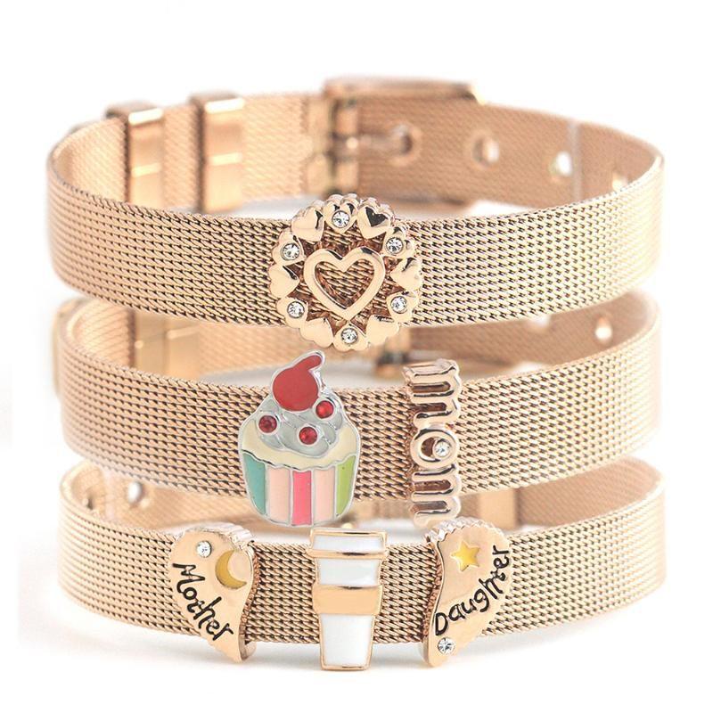 Legenstar or rose Bracelets en acier inoxydable Grille déformante Blessed Love Heart Mom Faites glisser Charms Bracelets Keeper mères cadeaux jour