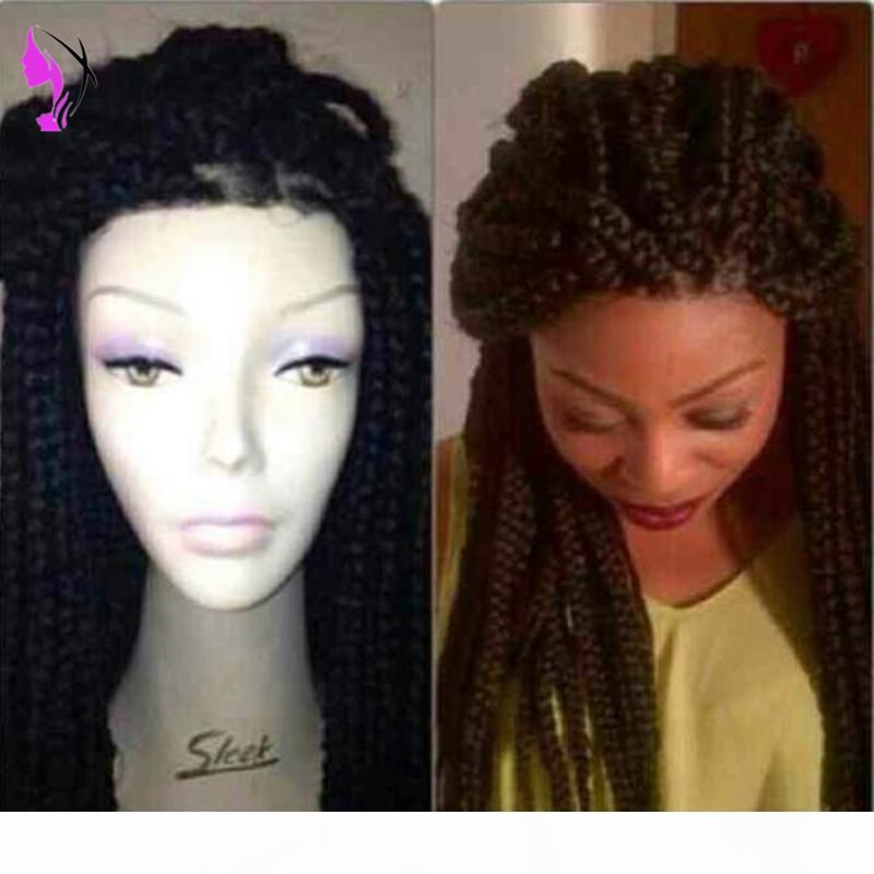 Longa caixa reta tranças lace dianteira peruca preta totalmente handbraides tranças sintéticas africanas peruca com cabelo bebê para mulheres negras