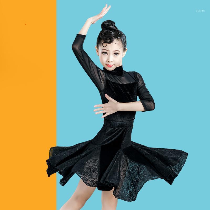 Sahne Giyim Latin Dans Elbise Kızlar Için Uzun Kollu Uygulama Etek Balo Salonu Kostüm Çocuklar Rumba / Samba / Salsa Dans VO2261