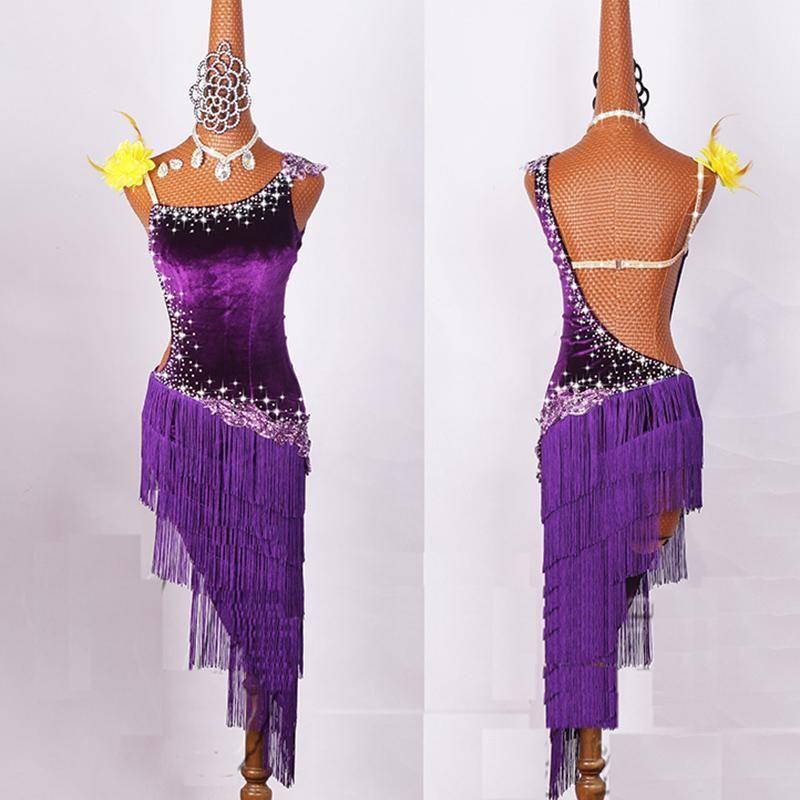 2020 Женщин Латинской костюмы Танцевального Lycra Net Топ кисточка Юбка Сальса Самба Румба Индия Дама Fringe латинских танцы платье DW1074