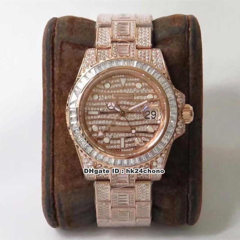 2 estilo de lujo de calidad tw 40mm gmt rg diamantes completos eta2824 reloj automático para hombre 116769 Diamond Dial Diamond Bracelet Gents Watches