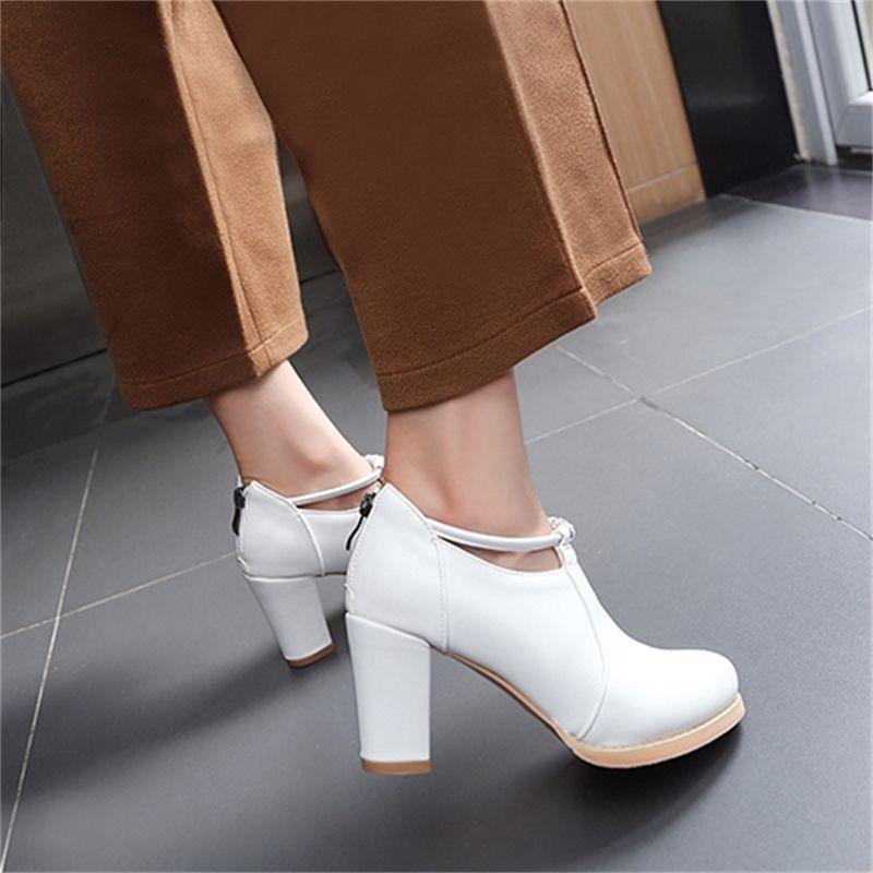 El tamaño grande 11 talones 12 13 14 15 16 damas de alta zapatos de mujer mujer bombea la boca áspera talón superficial Paquete del talón