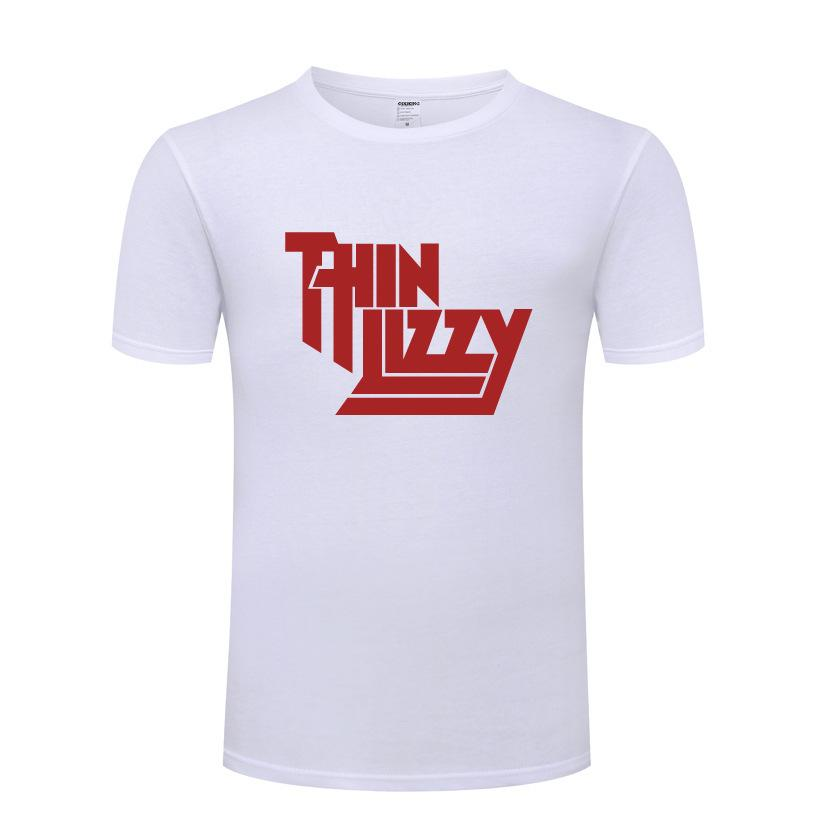 Nueva camiseta de manga corta Thin Fine Lizzy Heavy Metal Music Rock Hombres de algodón