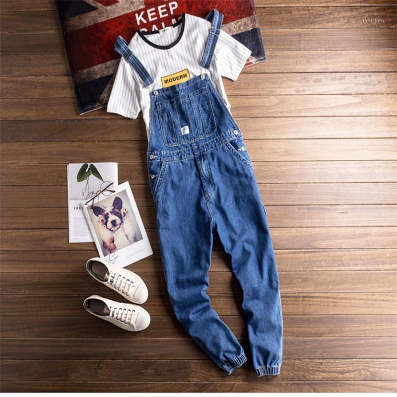 De Moda Azul Holgado Mono Hombres Mono Denim Babero HAUE PIES Jeans Ceano ROPA Informelle Estilo Hip Hop Bolsillo de Carga P1