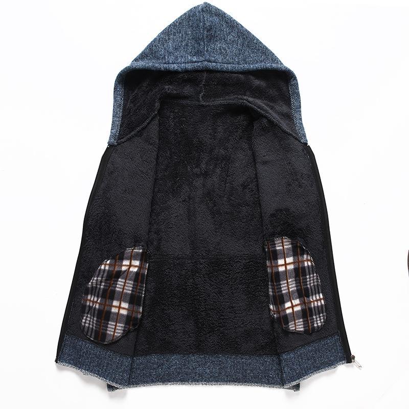 2020 Winter mit Kapuze Sportkleidung Pullover Anzug Winters Herren belüftet plus Samt dicken Mantel warme Pullover 87222