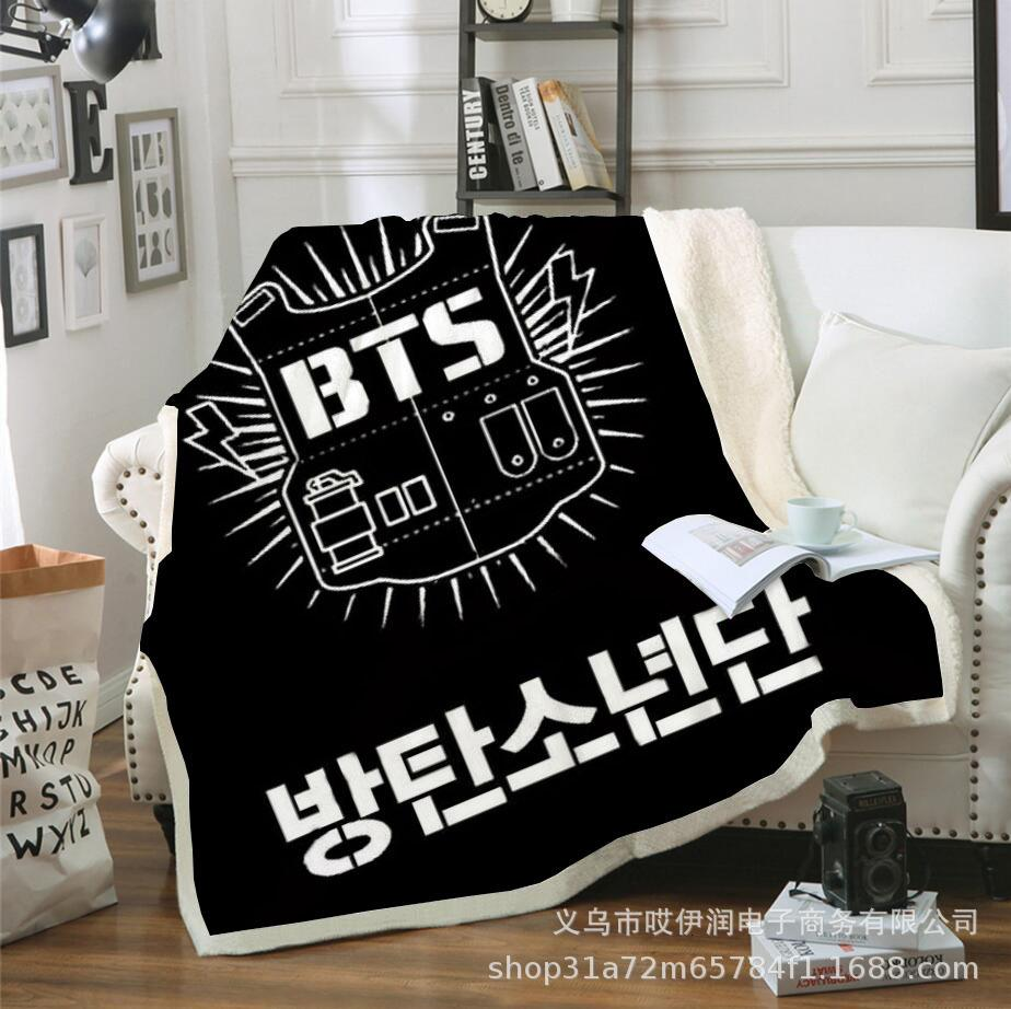 3d Digital Printing Thickened Flannel Sofa Cover Bts Bulletproof Youth Plush Blanket OBFU