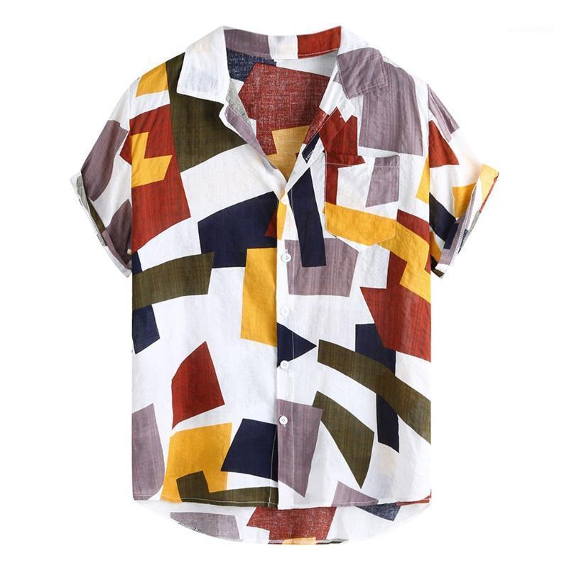 Мужские повседневные рубашки Летняя мужская Гавайская мода плед напечатана Свободные кнопки с короткими рукавами Топы и блуза Chemise Hawaiienne ## 71