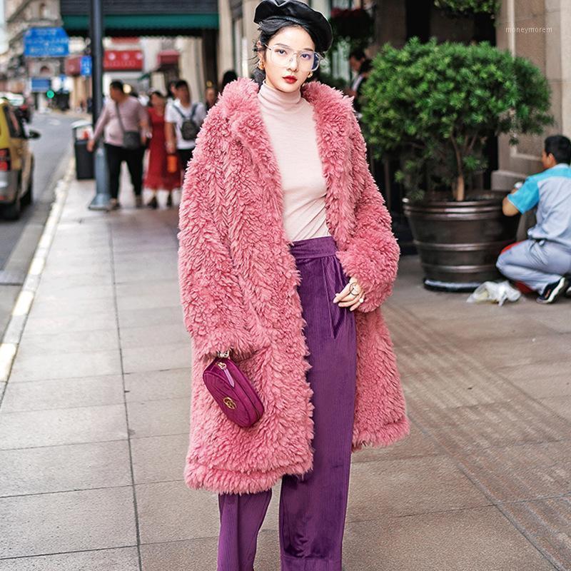 Mulheres de Inverno de Alta Qualidade Lambswool Overcoats Luxo Longo Casual Quente Quente Plus Size Feminino 2021 Pink Lady Moda1