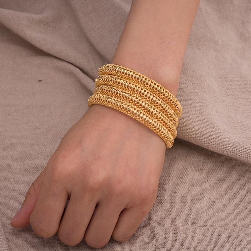Annayoyo 4pcs/lot 24K Gold Color Bangles for Women Men Gold Color Wedding Jewellery Dubai Bangles Ornaments Lucky Symbol Gifts 0930