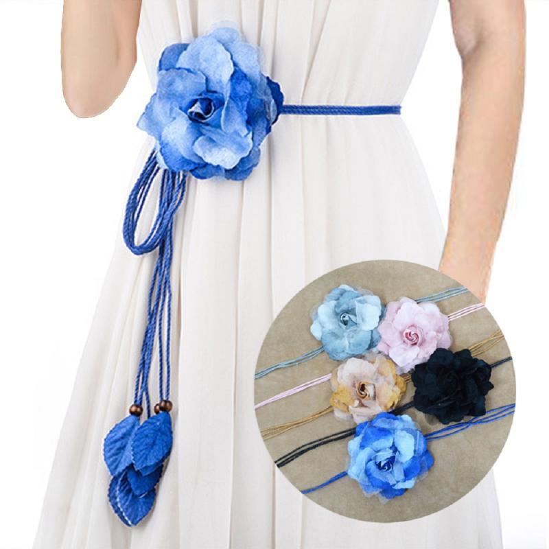 Повседневный стиль дикий шифон цветок тонкий пояс сладкий кисточка оплетка украшения элегантный цветок ручной работы тонкий женский платье