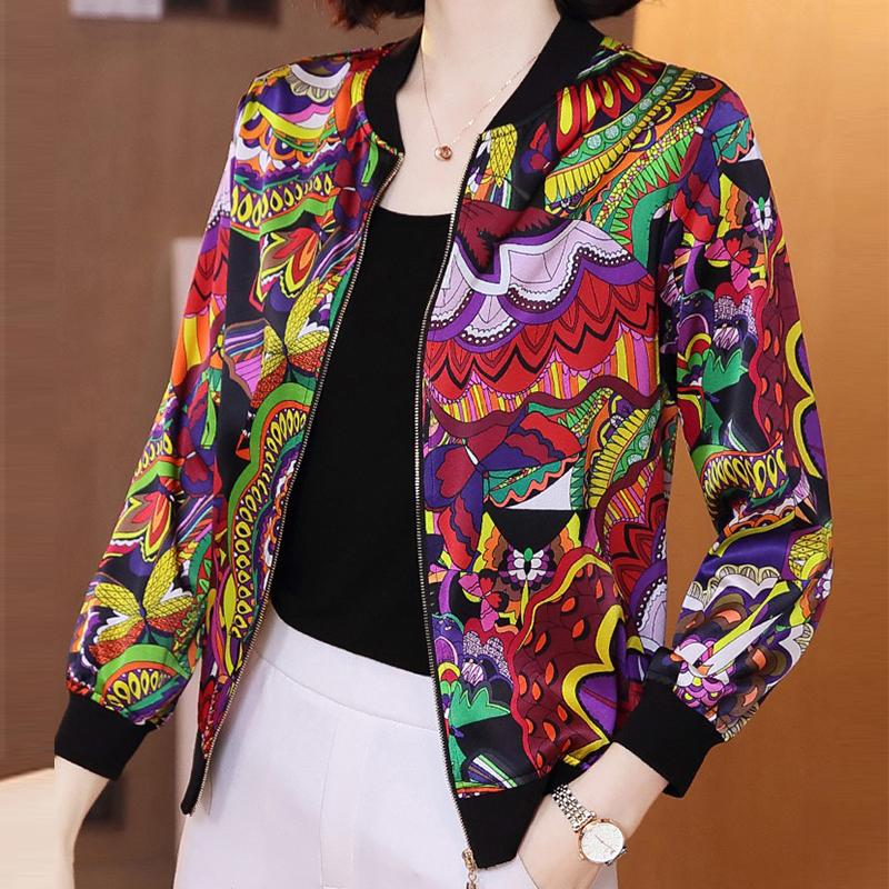 2020 neue Art und Weise Blumen-Jacke Frauen-Sommer-Mäntel Langarm Grund Jacken Bomber Thin Büro Red Tops Weibliche Jacke Outwear 1015