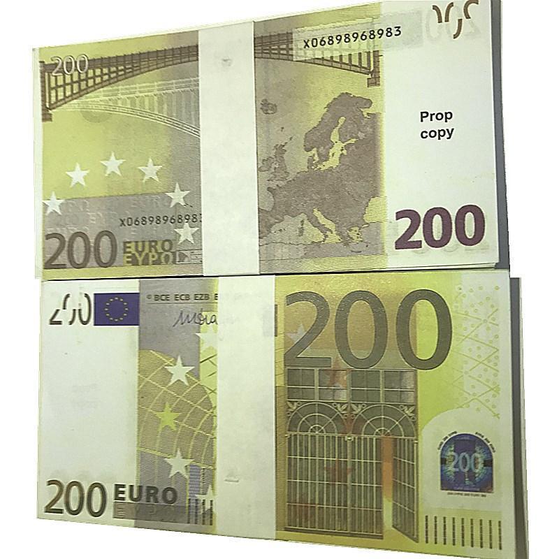 100pcs / pack EUR EUR Falso denaro moneta 200 euro reggiseno Prop Movie Money Faux Billet Play Dollari contraffatti Euro L2