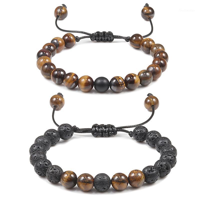 8mm Tiger Eye Pierre Beads Breads Brayed Corde Réglable Noir Noir Lava Chakra Charme Balance de guérison Bracelets de yoga pour hommes Femmes1
