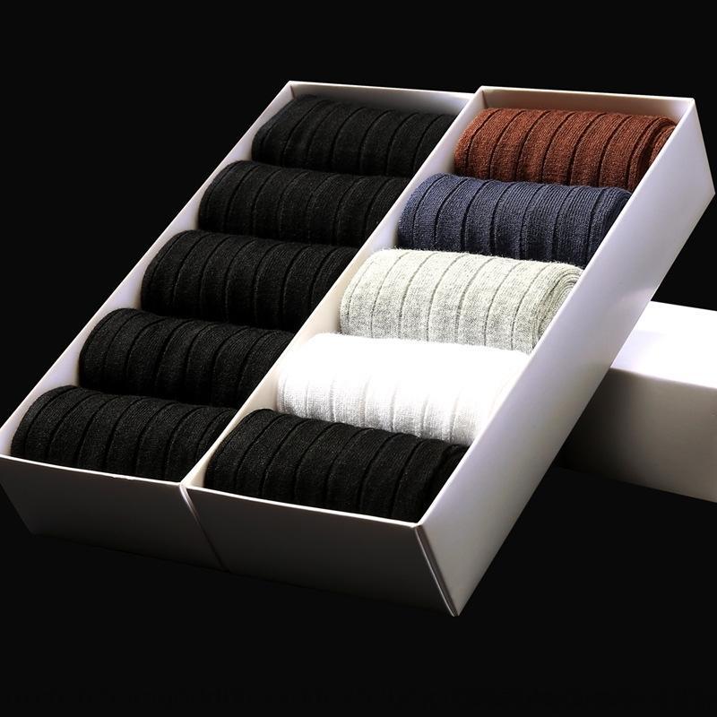 Knh8K Silber-Ionen Sieben-Tage-Deodorant und Mid-Länge und Herbst-Frühlings-Männer schwarze Socken Unternehmen High-End-Schweiß absorbierenden Socken der Männer v Streifen