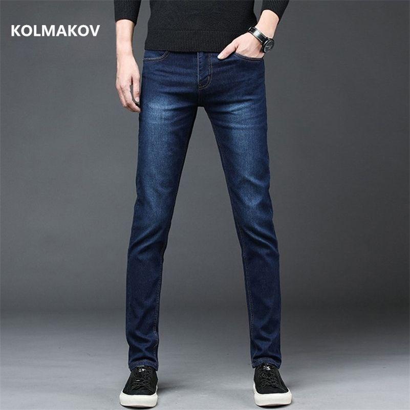 New Arrival Men's Denim Jeans Straight Full Length Pants with High Elasticity Slim Pants Man Fashion Mid-waist Jeans men 201111