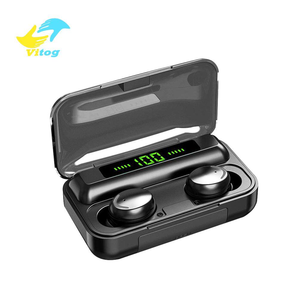 Vitog F9-5c TWS 무선 블루투스 이어폰 5.0 터치 헤드폰 이어폰 9D 스테레오 스포츠 음악 방수 LED 디스플레이 헤드셋과 마이크