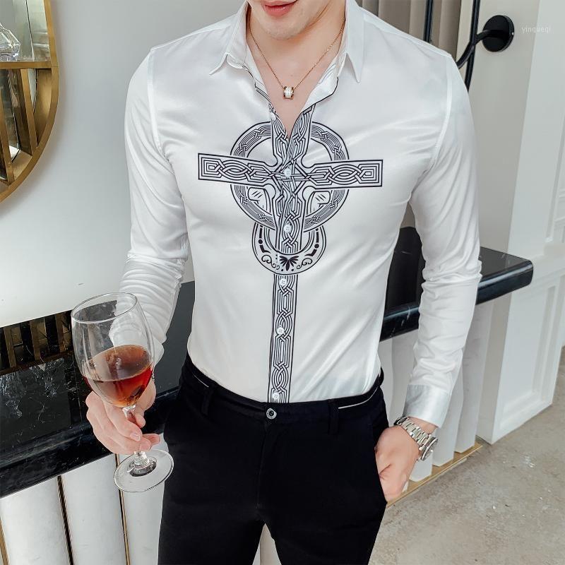 Camisa Homem Prom Camisa Masculina 2020 Осенняя цветочная рубашка поперечная печать Манга Лонга Мулькалина Рубашка мужчины DJ Singer1