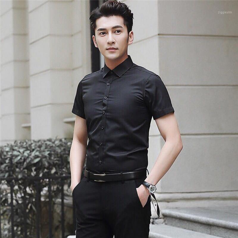 Camicia di marca di modo uomo manica corta estate colore solido sottile ufficio business ufficio formale uomo vestito camicia plus size maschio chemise1