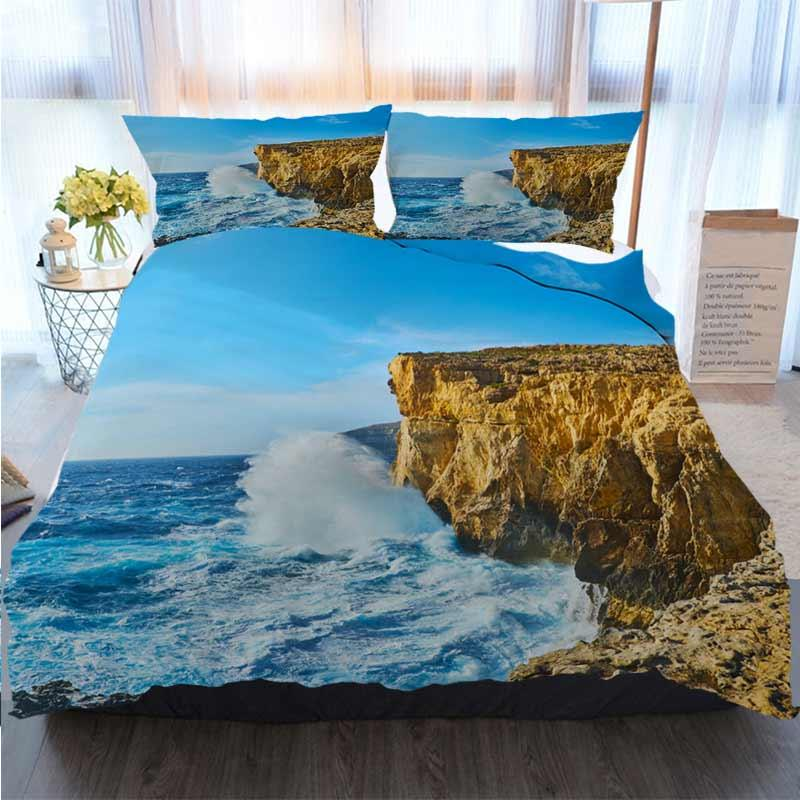 3D Printed Merry Christmas Bedding Set Watch The Storm At Lawrenz Coast Gozo Malta Duvet Cover Designer Bed Comforters Sets