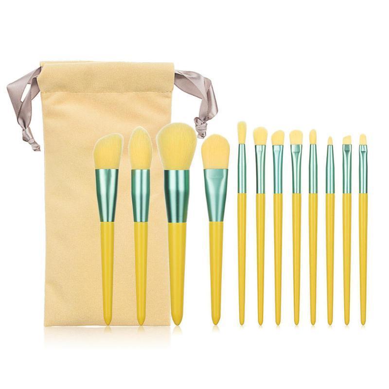 Brosses de maquillage 12 pcs / lots Ensemble de cosmétiques Fondation ombre à la paupière Mixte Brosse avec sac de rangement Outils de beauté