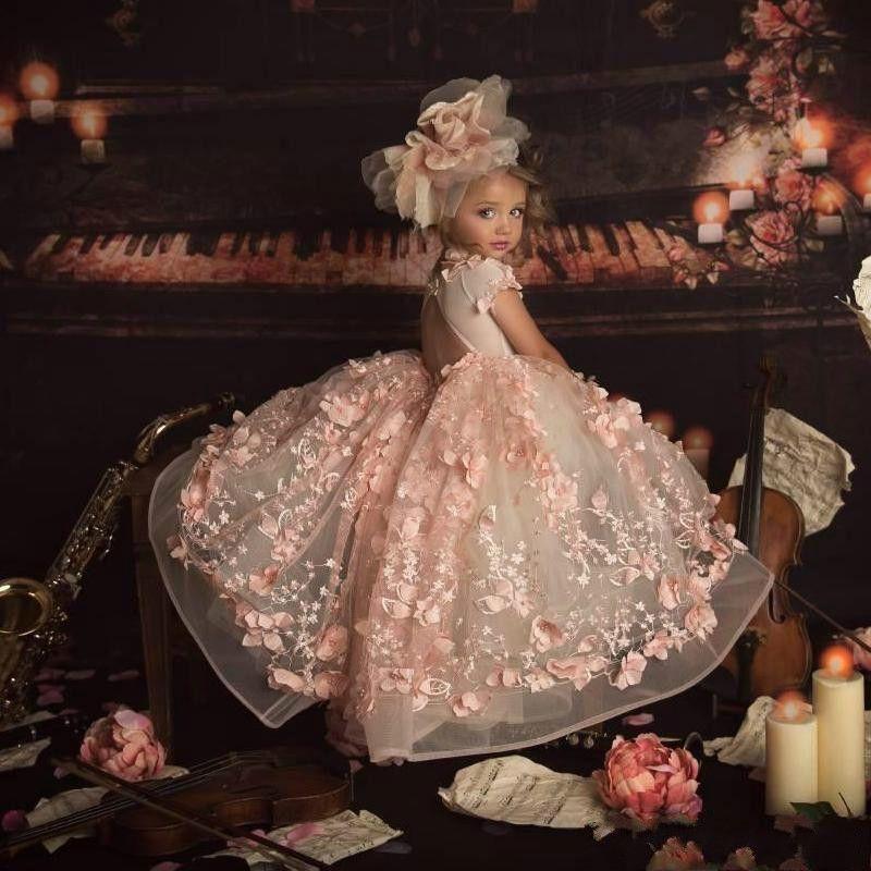 Allık Pembe 2021 Prenses Çiçek Kız Elbise Düğün Mücevher Boyun 3D Çiçek Çocuklar Yarışması Elbise Balo Bebek komünyon törenlerinde için