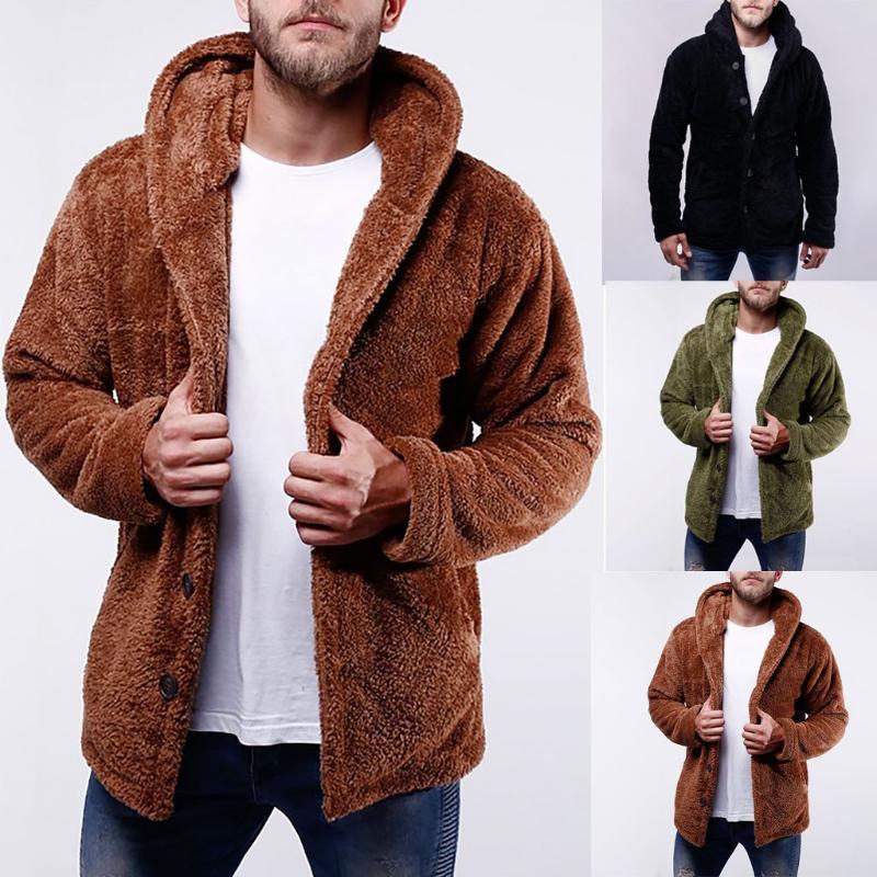 Homens da moda camisola New Style com capuz Pure-Color Sanitária roupas mangas compridas Botão Tops velo moleton