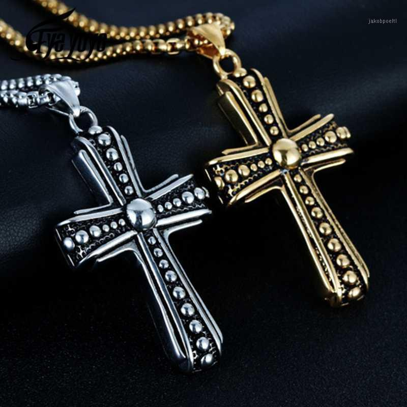 Eyeyoyo Hombre Remaches Punk Cross Colgante Collar 316L Acero Inoxidable Cross Hot Collant Becklace1