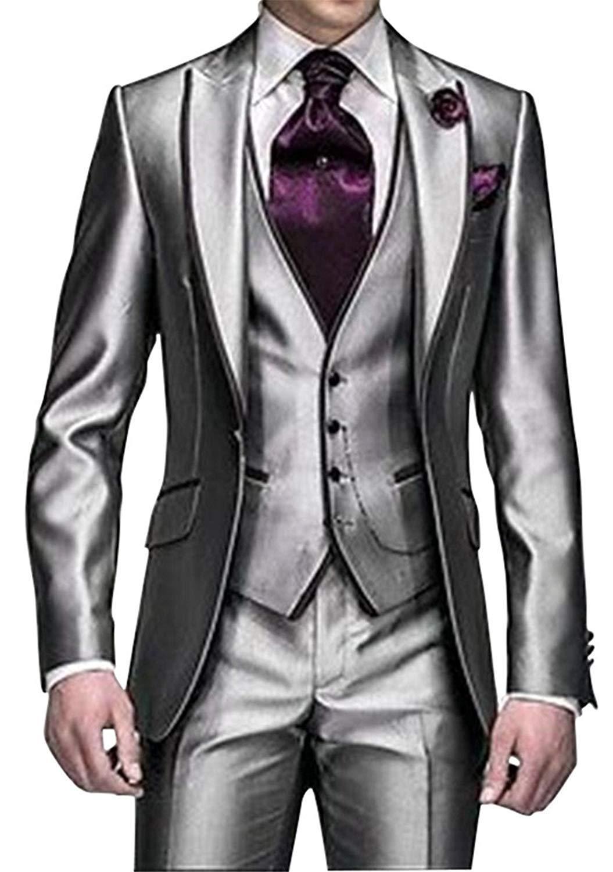 Abiti da sposa di nuovo stile One Button Shiny Silver Grey smoking dello sposo Groomsmen uomini di meglio si adatta dell'uomo (Jacket + Pants + Vest + Tie)