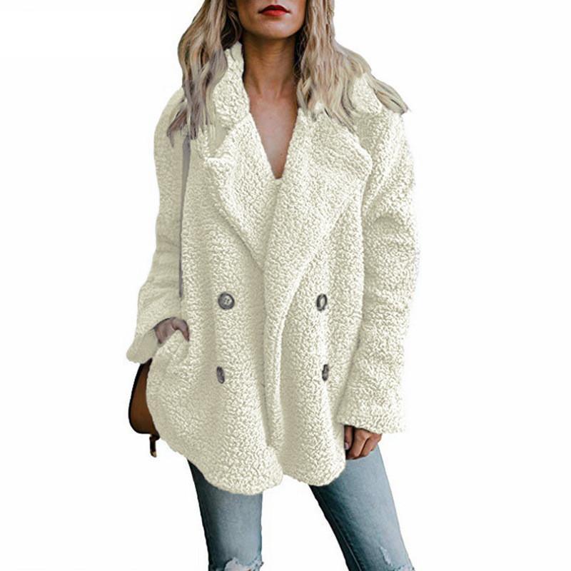 2020 inverno caldo di spessore Teddy Cappotto Donna risvolto maniche lunghe Fluffy peloso pelliccia falsa Giubbotti per la donna con tasche e bottoni Formato più soprabito