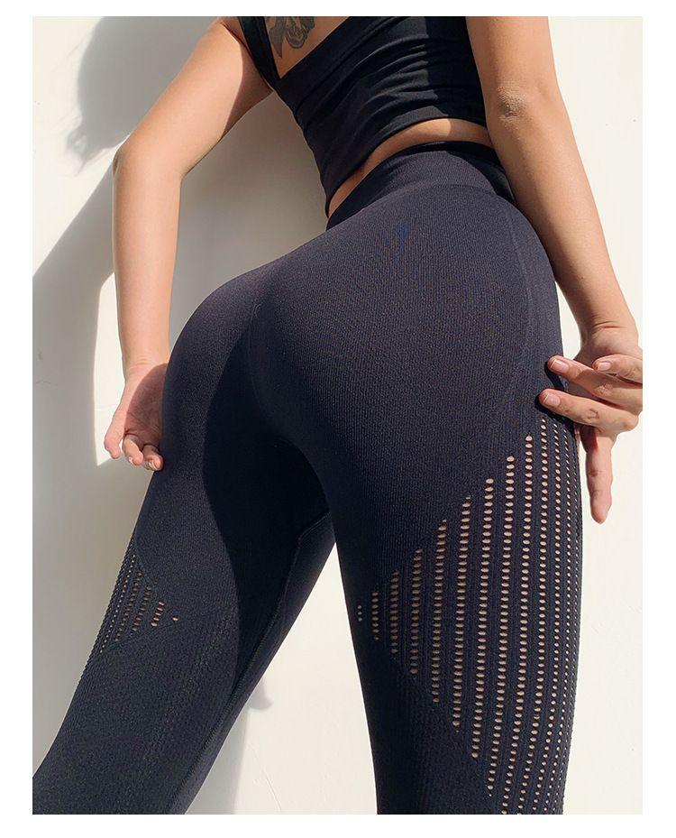 Yoga transparente Gym Leggings Mode évider Hanches Pantalon d'entraînement de levage Push Up Pantalons Courir Fitness Sports Vêtements pour femmes