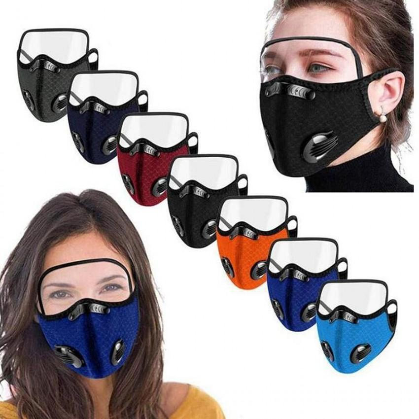 DHL 2 in 1 Mesh Dustproof Mask Dust Cover Transparent Eye Shield Cover Outdoor Cycling Sports Anti-Smog Unisex Adult Protective Face Masks