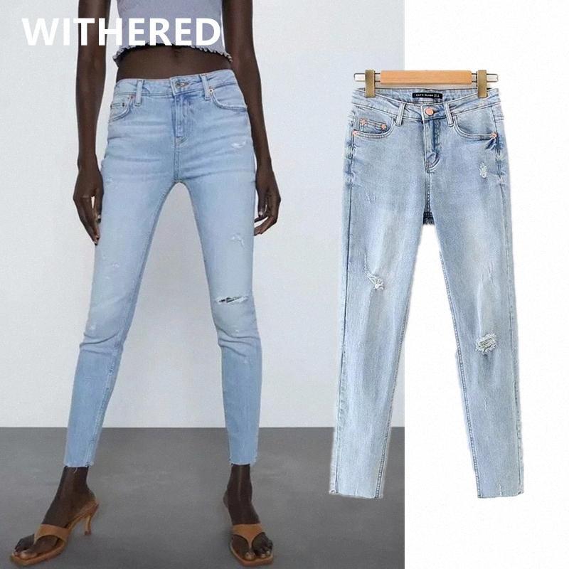 ins verão DaveDi blogger rua lavado impulso ceia magro acima Mulher calça jeans de cintura alta lápis calças jeans rasgado para as mulheres 541D #
