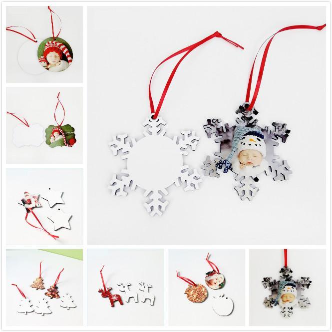 8 styles sublimation MDF ornements de Noël Transfert de chaleur Imprimer Pendentif Christmas Pendentif Cercle de neige Circle de chaleur Plaque vierge de fleur