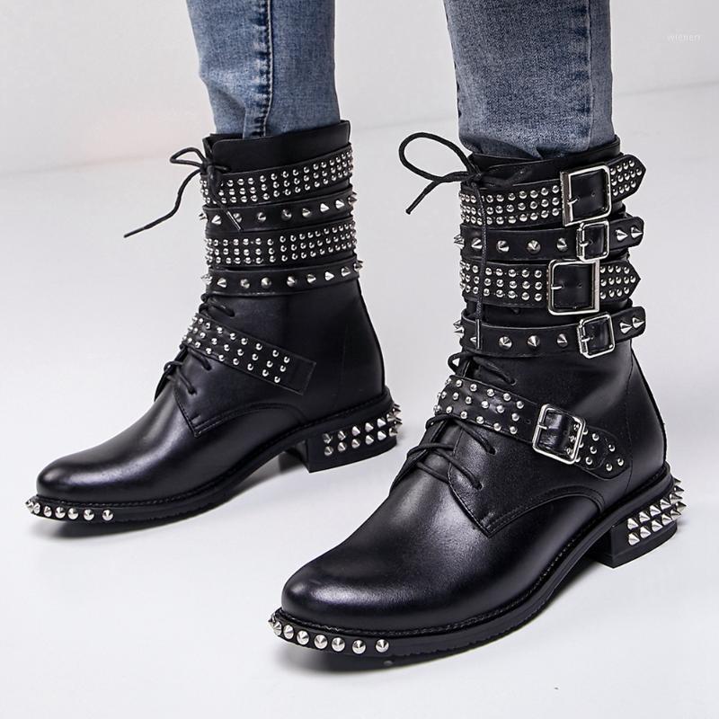 Brand Design Chic Frauen Schuhe Stiefel Große Größe 43 Echtes Leder Große Qualität Kühle Nieten Gürtelschnallen Motorräder Boot1