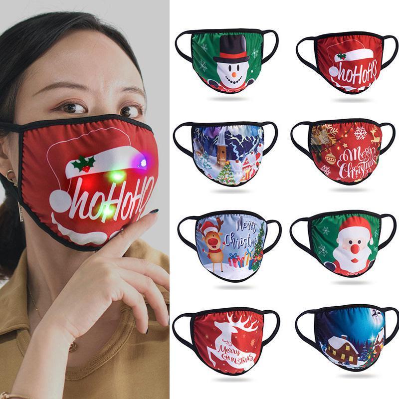 DHL LED-Maske Weihnachten Designer-Gesichtsmasken Baumwolle Masken Weihnachtsdekorationen Sonnenschutz Staubdicht Hängeohr Art Luminous Masken DHF2449