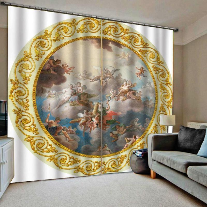 Benutzerdefinierte jegliche größe europäische stil engel muster vorhang 3d digitaldruck für wohnzimmer blackout sunshade fenster drapes