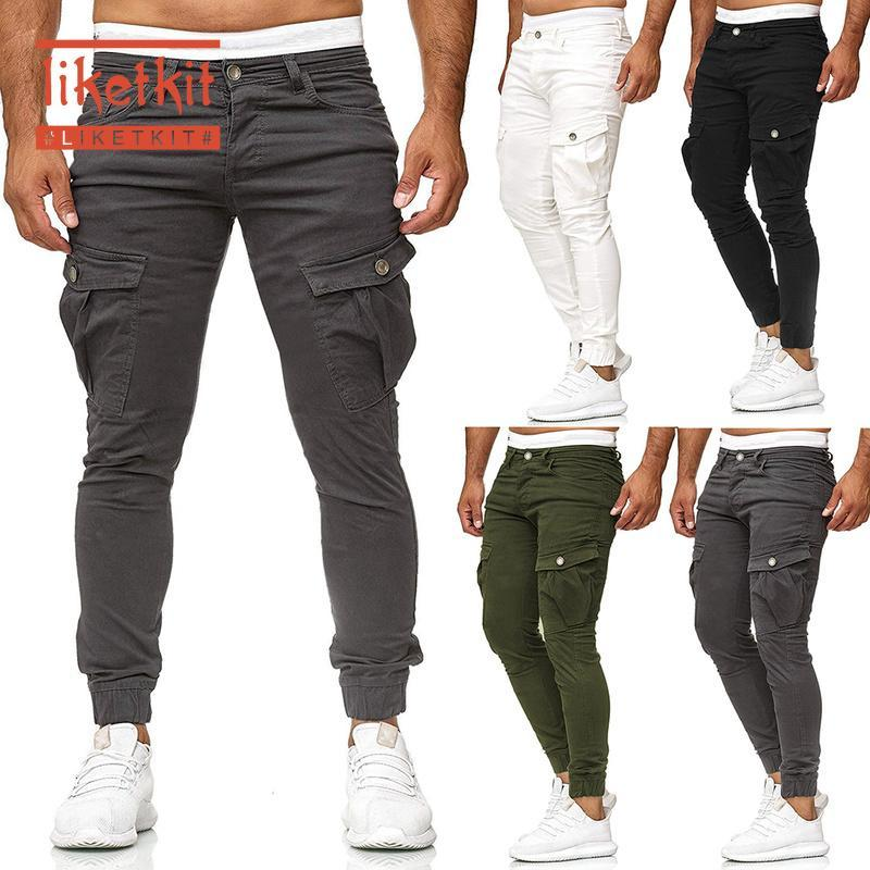 Men's Pants Liketkit Mens Casual Joggers 2021 Solid Patchwork Cotton Cargo Homme Elastic Skinny Fitness Trousers