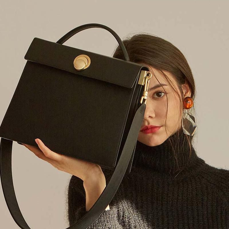 la moda delle donne quadrati spalla le borse del progettista cinghia larga femminile borsa crossbody lusso pu hanabags pelle signora grandi borse 2019 sac C1009