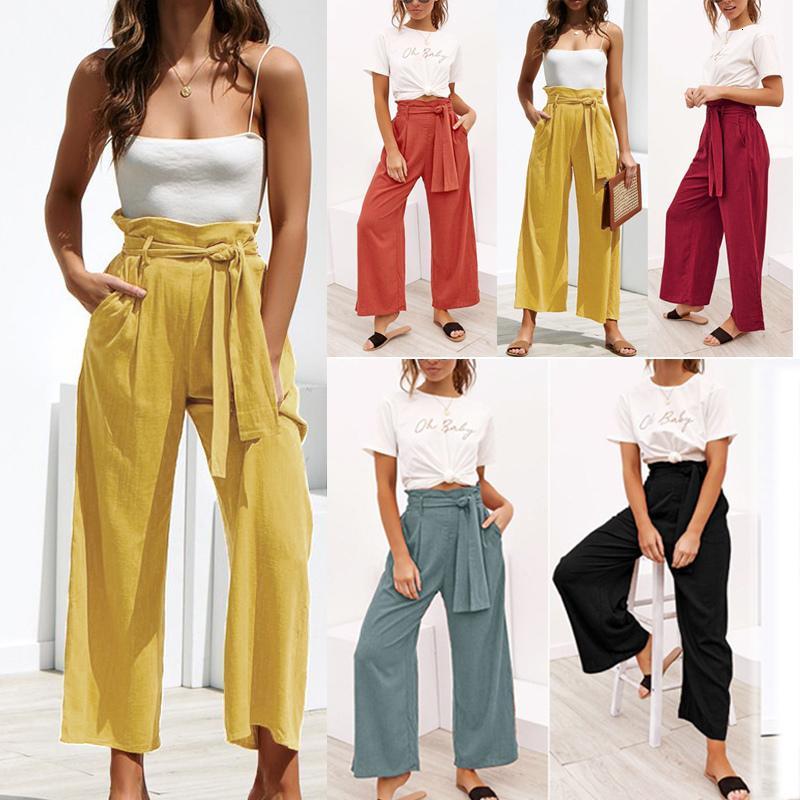 Мода женские брюки лето Твердая бинты вскользь Свободные брюки высокой талией Crop Женщины Хлопок Широкий ноги брюки Плюс Размер Гаремные
