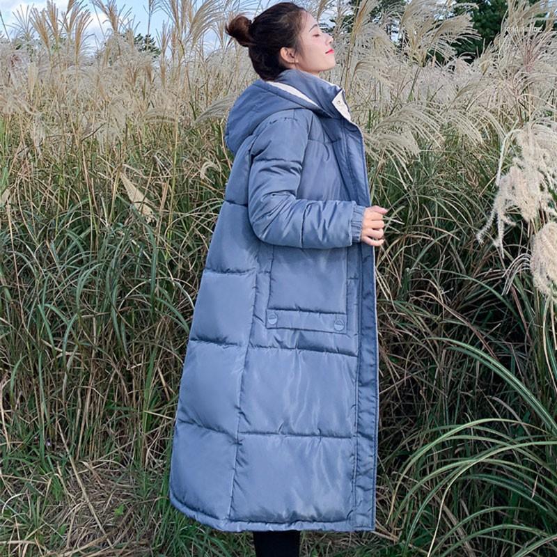 2021 Nuevo otoño invierno moda sólido jakcet mujeres cuello de piel grande algodón largo acolchado lacy con capucha parkas1