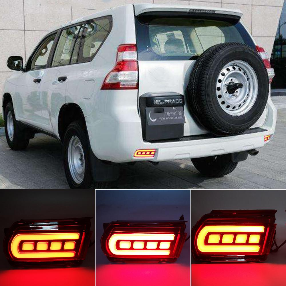 1 Set LED Reflector For Toyota Land Cruiser Prado 150 LC150 FJ150 GRJ150 2010 - 2019 Rear Bumper LED Tail Light Brake Light