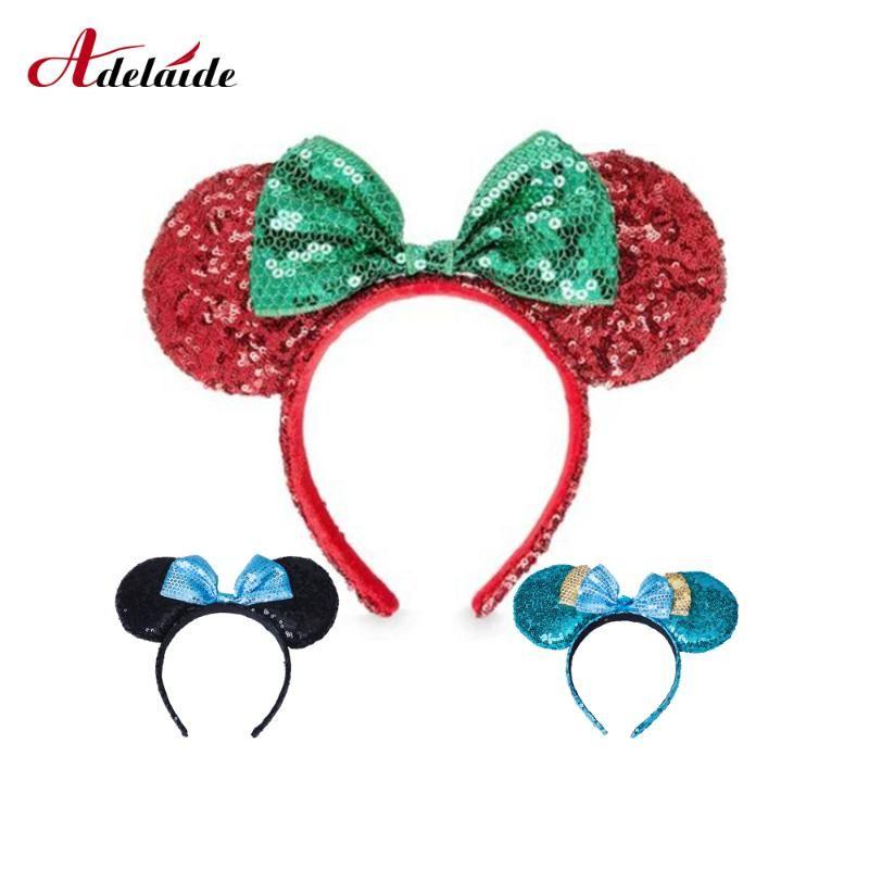 Pailleté arc Bandeau oreilles papillon Belle souris Parti Hairband Sequin Bandeau Band Hair Bow Princesse Accessoires cheveux